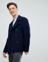 Jack Wills Bickmore wool pea coat in navy - Navy