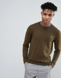 Jack Wills Bilton Stripe Tipped Crew Neck Jumper in Olive - Green