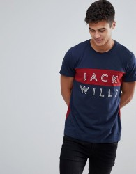 Jack Wills Bramshill T-Shirt With Stacked Logo in Blue - Blue