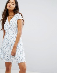 Jack Wills Button Up Floral Print Tea Dress - White