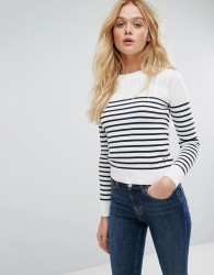 Jack Wills Cable Yoke with Stripe Jumper - White