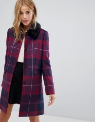 Jack Wills Check Cocoon Coat with Detachable Fur Collar - Red