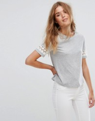 Jack Wills Cropped Tee with Lace Insert Sleeve - Grey