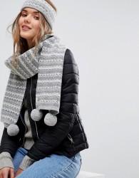 Jack Wills Fairisle Knitted Scarf with Pom Pom - Grey