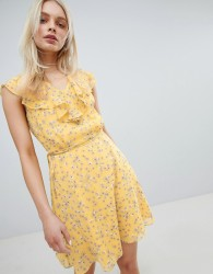 Jack Wills Frill Floral Printed Dress - Yellow