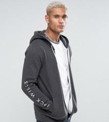 Jack Wills Granville Zip Through Hoodie With Sleeve Print In Grey - Grey