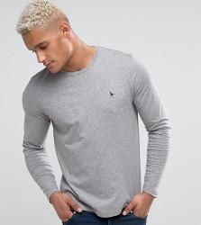 Jack Wills Long Sleeve Logo T-Shirt In Grey Marl - Grey