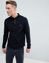Jack Wills Long Sleeve Staplecross Polo In Black - Black