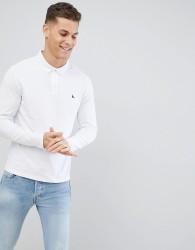 Jack Wills Long Sleeve Staplecross Polo In White - White