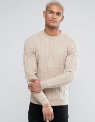 Jack Wills Marlow Merino Cable Knit Crew Neck Jumper In Oatmeal - Tan