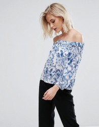 Jack Wills Off The Shoulder Floral Print Top - White