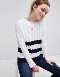 Jack Wills Pleated Stripe Hem Jumper - White
