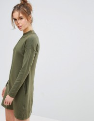 Jack Wills Slouchy Knit Dress with High Neck - Green