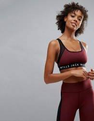 Jack Wills Sports Bra with Mesh Racer Back - Red