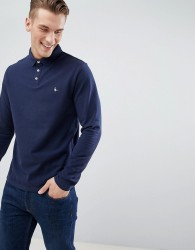 Jack Wills Staplecross Long Sleeve Polo in Navy - Navy
