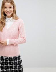 Jack Wills V-Neck Cable Knit Jumper - Pink