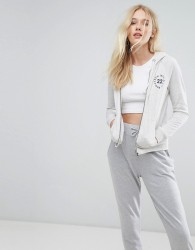 Jack Wills Zip Through Hoody with Chest Embroidery - Grey