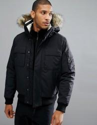 Jack Wolfskin Brockton Jacket with Faux Fur Hood in Black - Black