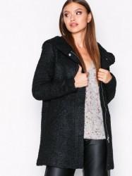 Jacqueline de Yong Jdydemea Hood Boucle Jacket Otw Frakker Sort
