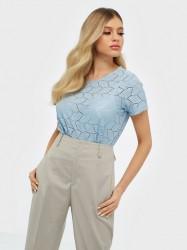 Jacqueline de Yong Jdytag S/S Lace Top Jrs RPT2 Noos Bluser & skjorter Cashmere Blue
