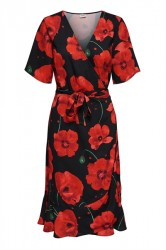Jacqueline de Yong - Kjole - JDY Indie 2/4 Wrap Dress - Black/Fiery Red