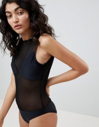 Jaded London Mesh Swimsuit - Black