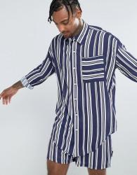 Jaded London Oversized Shirt In Navy Stripe - Navy