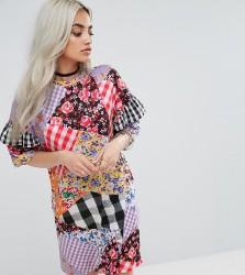 Jaded London Petite Oversized Mix And Match Print Tshirt Dress - Multi