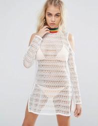 Jaded London Rainbow Tape Crochet Beach Kaftan - White