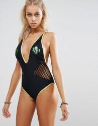 Jaded London Sequin Cactus Plunge Swimsuit - Black