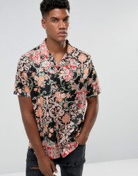 Jaded London Shirt In Black With Floral Print - Black