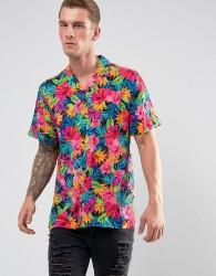 Jaded London Shirt In Feather Print Reg Fit - Black