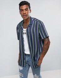 Jaded London Shirt In Stripe Reg Fit - Green