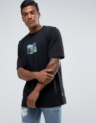 Jaded London T-Shirt In Black With Tropical Box Print - Black