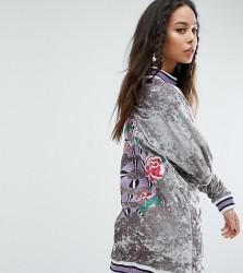 Jaded London Tall Oversized Embroidered Velvet Jumper Dress With Rib Detail - Multi
