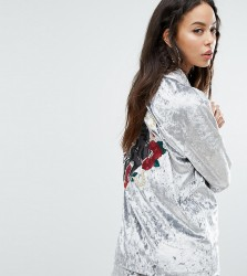 Jaded London Tall Oversized Velvet Shirt With Panther Embroidery Co-Ord - Grey