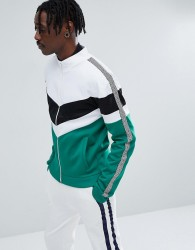 Jaded London Track Jacket In Green With Chevron Print - Green
