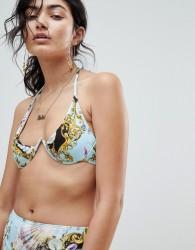 Jaded London Vintage Print Mono Wire Bikini Top - Multi