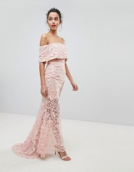 Jarlo All Layered Bardot All Over Embroidered Lace Maxi Dress - Pink