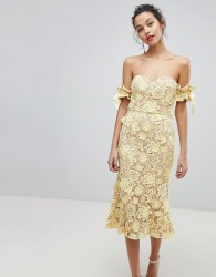 Jarlo All Over Cutwork Lace Bardot Midi Dress With Tie Sleeve Detail - Yellow