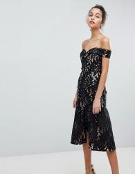 Jarlo All Over Cutwork Lace Bardot Midi Prom Dress With Ruffle Hem - Black
