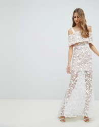 Jarlo All Over Embroidered Lace Maxi Dress With Tie Shoulder Detail - White