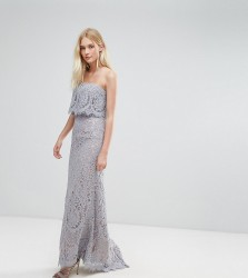 Jarlo All Over Lace Bandeau Maxi Dress - Grey