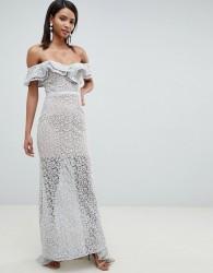 Jarlo all over lace frill bardot fishtail maxi dress in grey - Grey