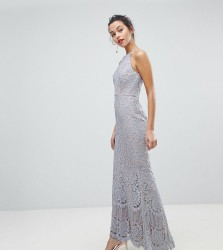 Jarlo All Over Lace Off High Neck Maxi Dress - Grey