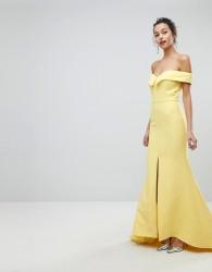 Jarlo Bardot Maxi Dress With Thigh Split And Train Detail - Yellow