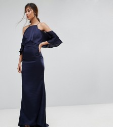 Jarlo Fishtail Maxi Dress With Cold Shoulder - Navy