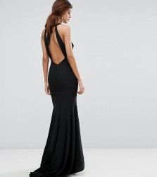 Jarlo Fishtail Maxi Dress With Open Bow Back - Black