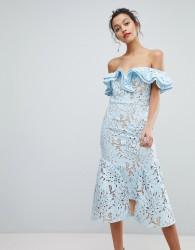 Jarlo Frill Cutwork Lace Off Shoulder Stepped Hem Midi Dress - Blue