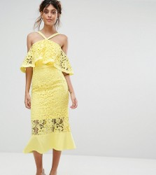 Jarlo Frill Layer Cold Shoulder Lace Midi Dress - Yellow